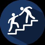 Ilustración de una persona que ayuda a otra en las escaleras